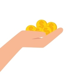 Hand human with coins vector