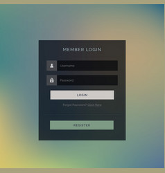 Dark theme member login form ui design vector
