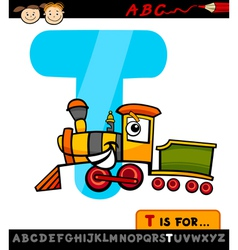 Letter t with train cartoon vector