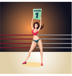Support girl on a boxing ring cartoon character vector