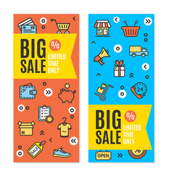 Sale flyer banner posters card set vector
