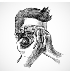 Photographer sketch portrait vector