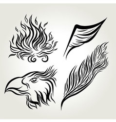 Eagle wing hand drawing vector