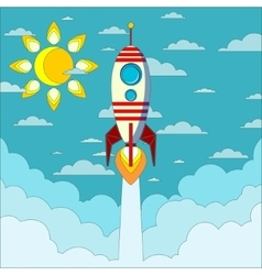 Rocket on the blue sky vector