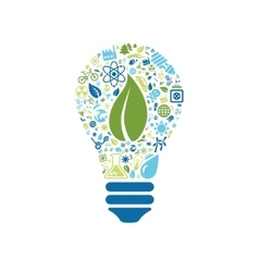 Ecology icons in light bulb vector