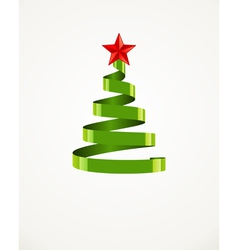Christmas tree from ribbon with star vector
