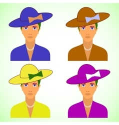 With retro female characters set vector