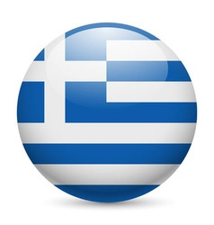 Round glossy icon of greece vector