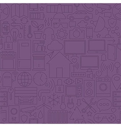 Thin home technology seamless dark purple pattern vector