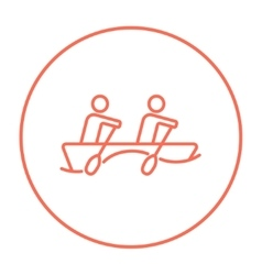 Tourists sitting in boat line icon vector