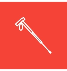 Hiking pole line icon vector