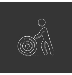 Man with wire spool drawn in chalk icon vector