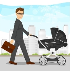 Business man pushing pram or baby carriage vector