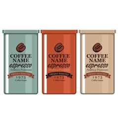 Label coffee in the iron banks vector