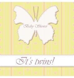 Baby shower twins vintage with butterfly banner vector