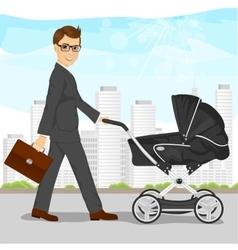 Business man pushing pram or baby carriage vector