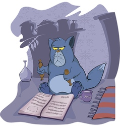 Cat and the book vector