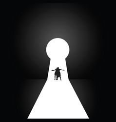 couple in front of the keyhole vector image vector image