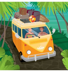 Couple of hippies traveling in van along the coast vector image vector image