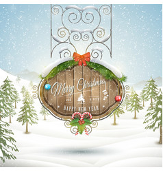Decorated Christmas board vector image vector image