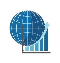 Earth globe diagram and graph chart icon vector
