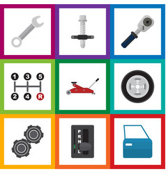 Flat icon workshop set of ratchet tire vector