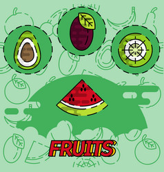 fruits flat concept icons vector image