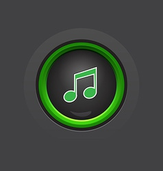 Glossy dark circle music button vector