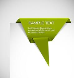 Green paper origami ribbon vector