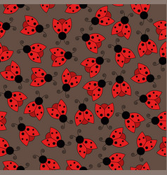 ladybug seamless pattern art background vector image