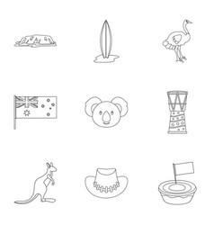 Landmarks of australia icon set outline style vector
