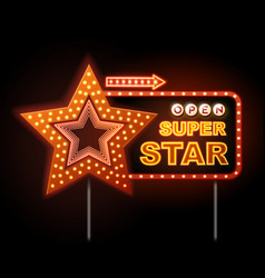 Neon sign of disco star and neon text super star vector