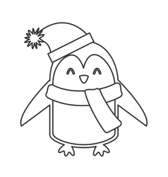 Penguin winter clothes icon vector