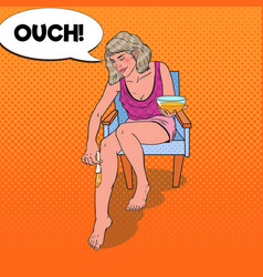 Pop art young woman waxing legs at home vector