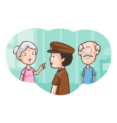 Senior lovers at the police station vector