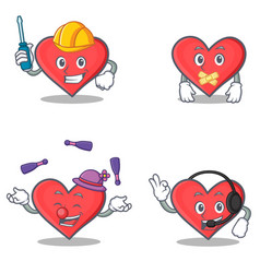 Set of heart character with automotive silent vector