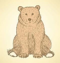 Sketch cute bearl in vintage style vector image vector image