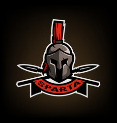 Spears and spartan battle helmet logo vector