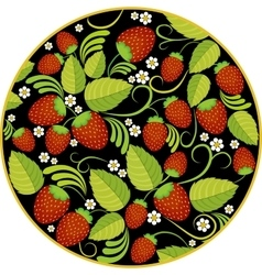 Strawberries background with leaves berries and vector image vector image