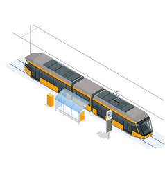 tram on the stop tram stop isometric icon set vector image vector image