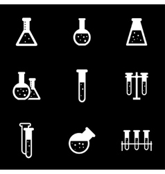 White chemistry icon set vector