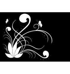 white flora on black vector image vector image