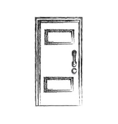 Wooden door entrance closed sketch vector