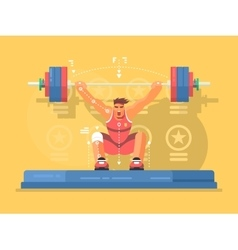 Weightlifting competitions flat design vector