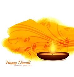 Happy diwali diya background design vector