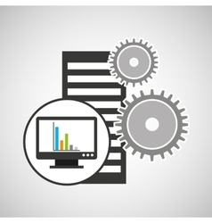 database setting computer graphs icon vector image