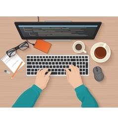 Developer working at computer programmer hands vector