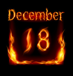 Eighteenth december in calendar of fire icon on vector