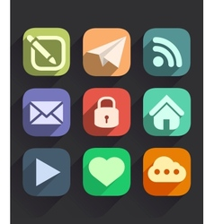 Set of Flat Icons for Web and Mobile Apps vector image