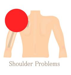 Shoulder problem icon cartoon style vector